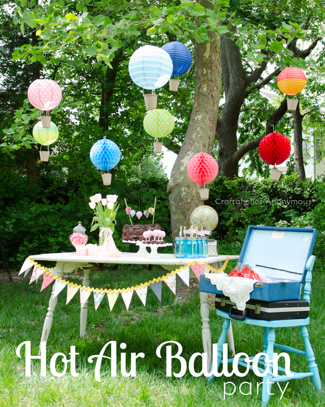 Hot Air Balloon Birthday party. Love this theme! Those hot air balloons made with paper lanterns are so awesome! #hot_air_balloons #party