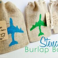 Easy Stenciled Burlap Bags