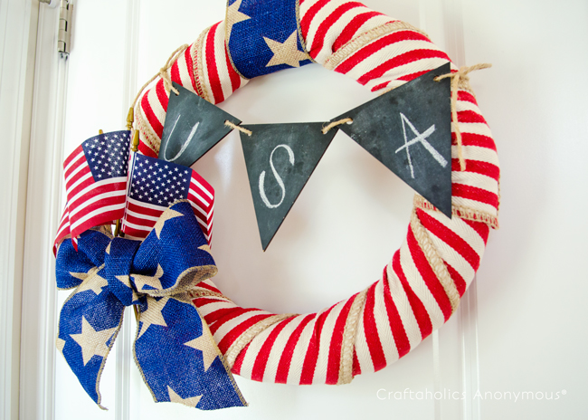 Patriotic Wreath for Independence Day. Love this red, white, and blue wreath idea!