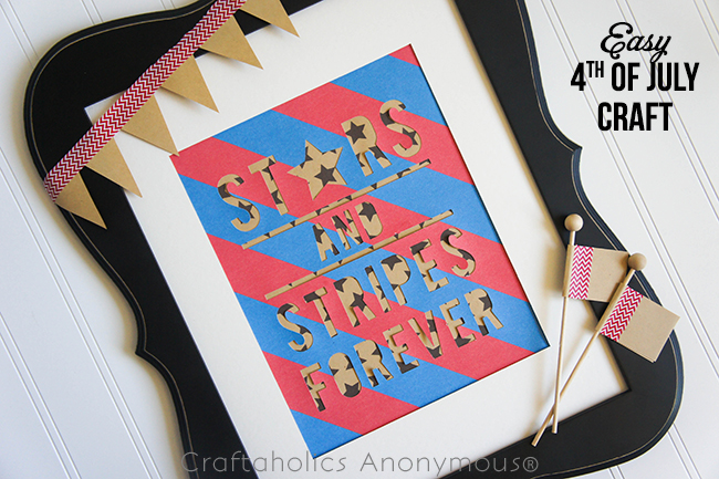 EASY Stars and  Stripes Craft on www.craftaholicsanonymous.com #fourthofjuly #silhouettecameo