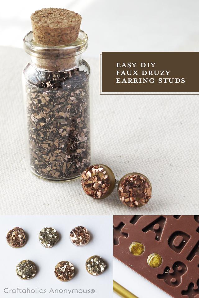 Make your own druzy stud earrings!