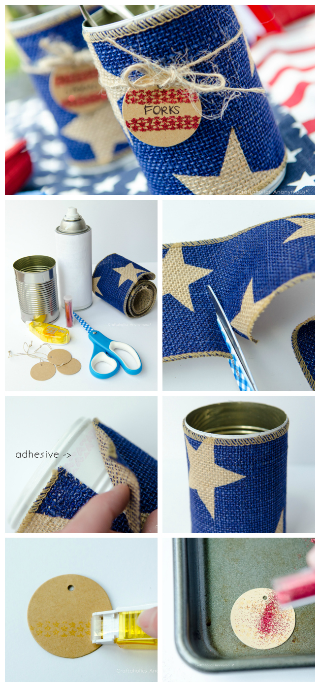Turn tin cans into festive 4th of July decor! Organize your party supplies or even put fresh flowers in them.