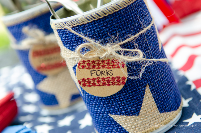 Patriotic Tin Can organizers. Perfect for party supplies like utensils and straws!