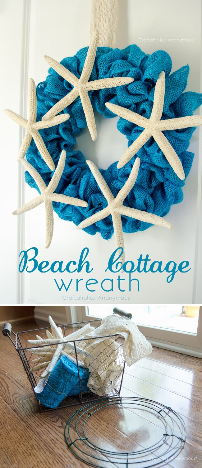 Easy Beach Wreath with turquoise burlap. Hang it with some thick lace for a beach cottage-y look!