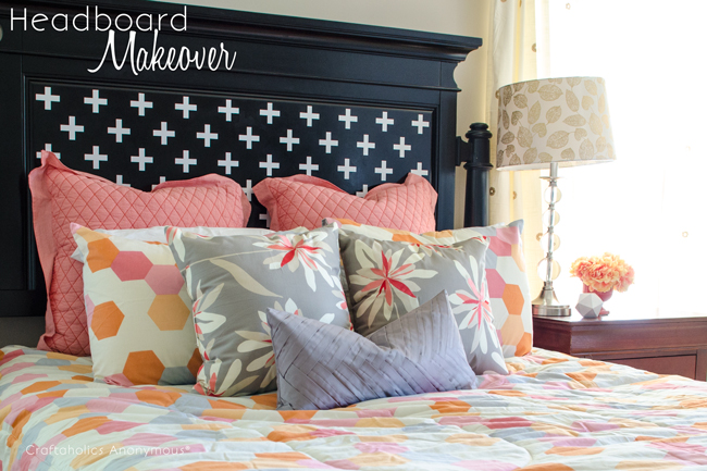 Cheap, easy way to update a headboard- simply add a vinyl design!