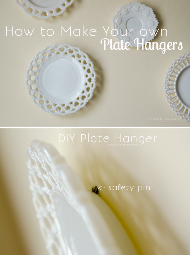 How to make DIY Plate Hangers using household items like safety pins. Brilliant!