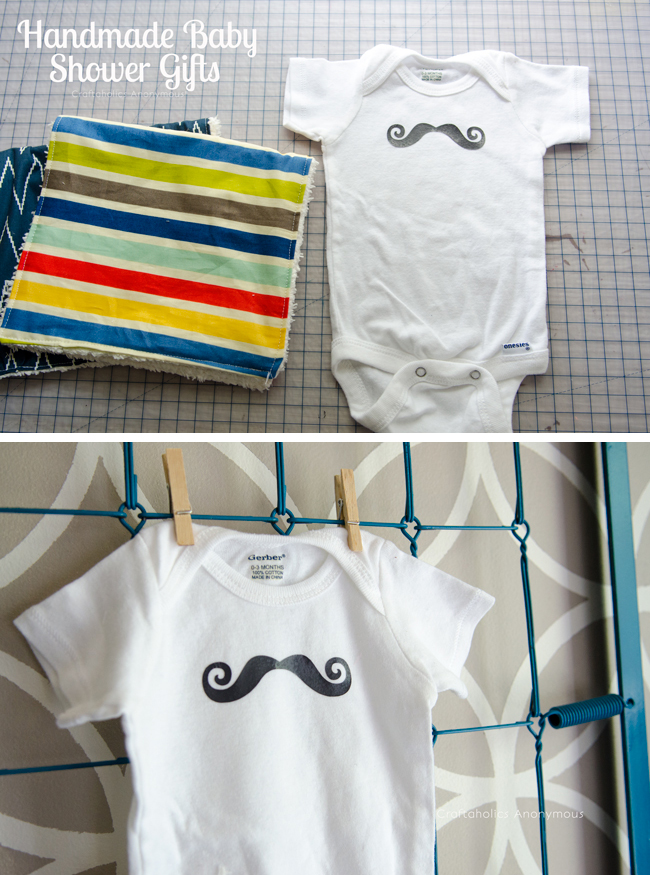 Cute handmade baby shower gift ideas for a boy. Love the curly mustache! via @CraftaholicAnon