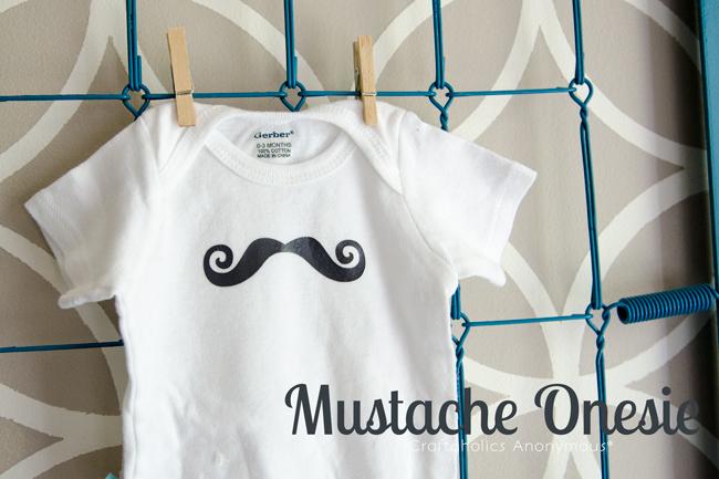 Mustache onesie tutorial. Cute handmade baby shower gift idea for a baby boy!