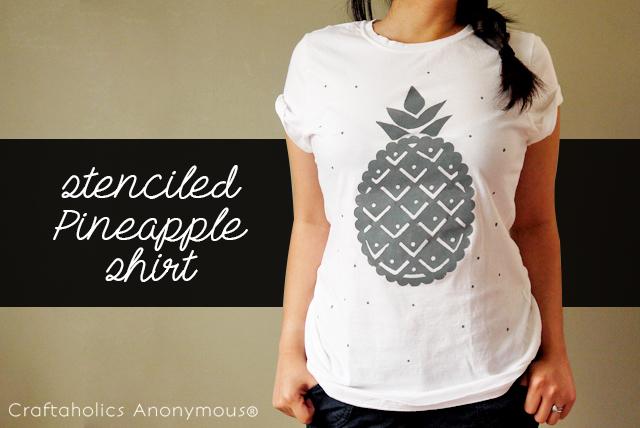 stenciled pineapple shirt