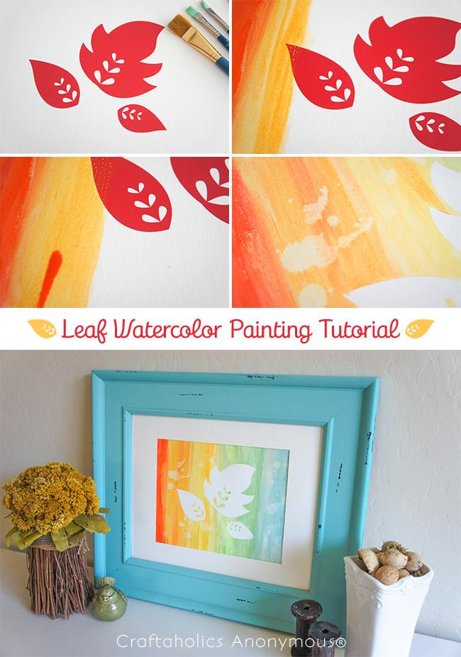 DIY Fall Leaf watercolor painting. Fun fall craft idea!