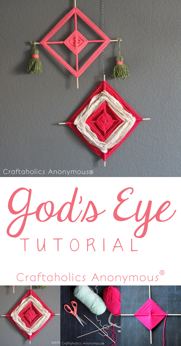How to make God's Eye. All you need is sticks and yarn. Love this vintage style craft!