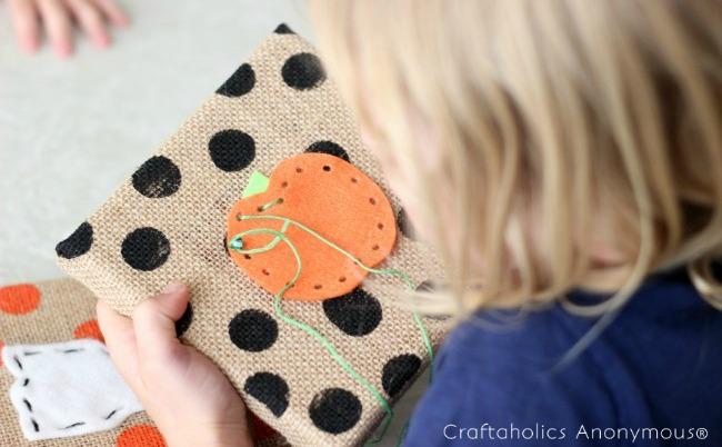 Halloween craft for kids - adorable DIY Halloween felt lacing shapes