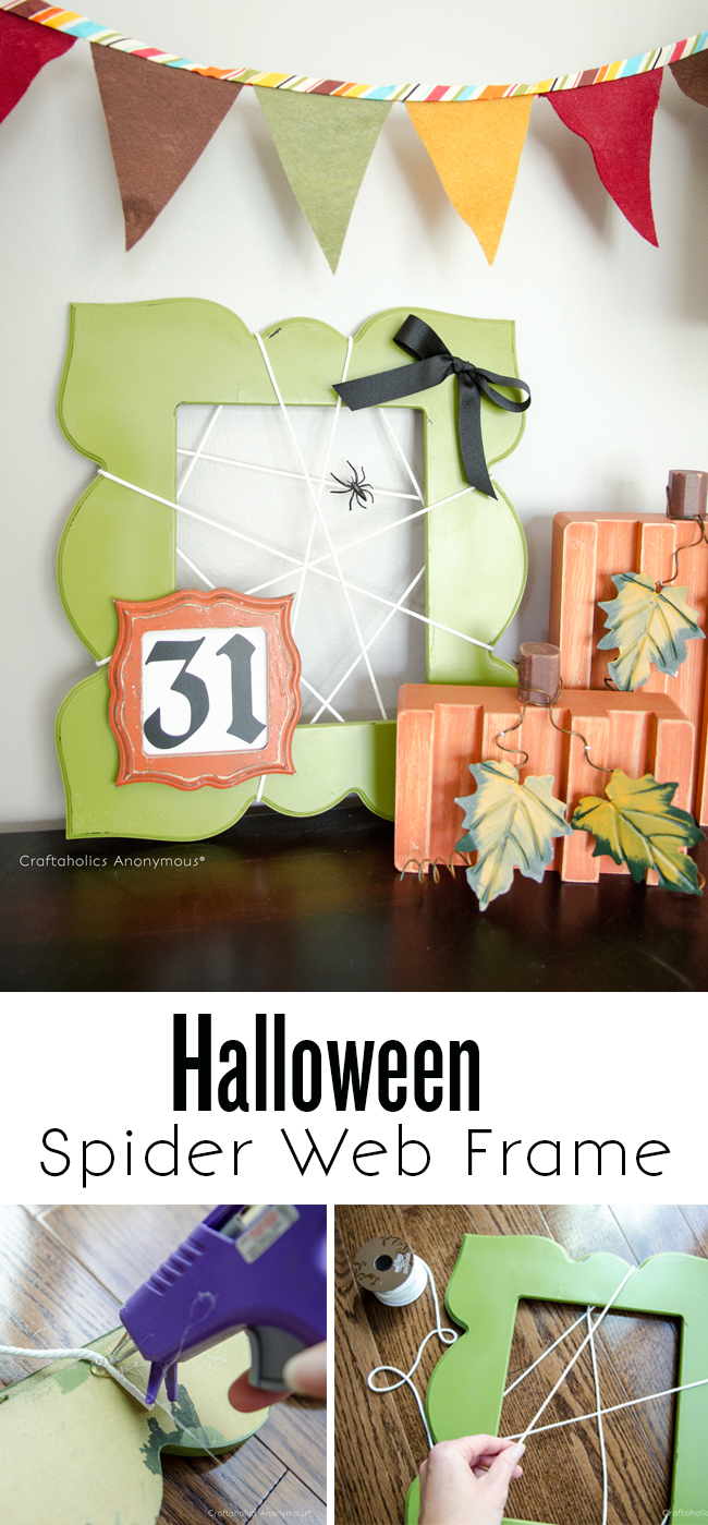 Spooky Spider web frame, Halloween craft. Super easy to make!