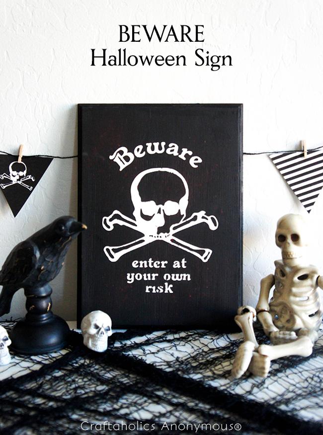 BEWARE Halloween Sign on www.craftaholicsanonymous.com #halloween #silhouettecameo