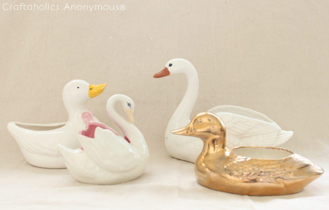 duck planter makeover. See how these random duck planters look with a little metallic makeover!