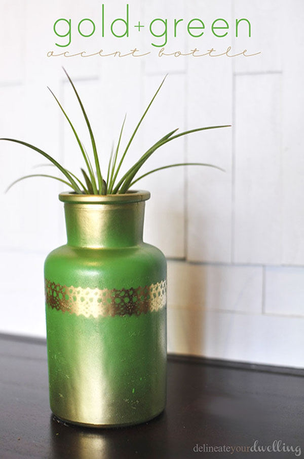 Gold + Green Accent Bottle - Delineate your Dwelling