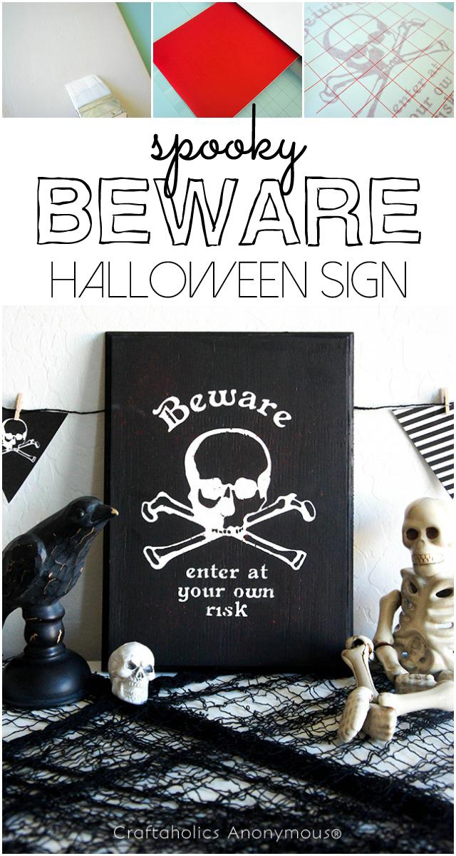 Spooky BEWARE Halloween Sign #halloween #silhouette