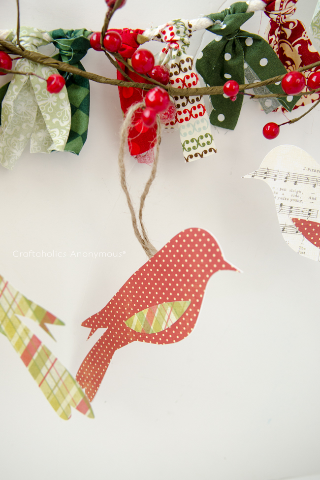 Pretty paper bird Ornaments. Simple, easy and great for kids to make too!