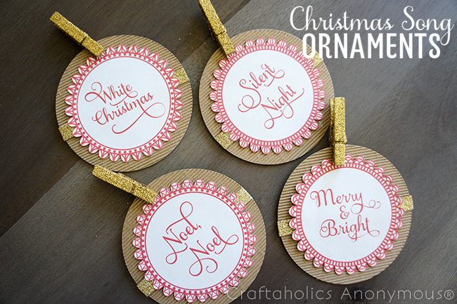 Free Printable Christmas ornaments. Love the Christmas song theme!