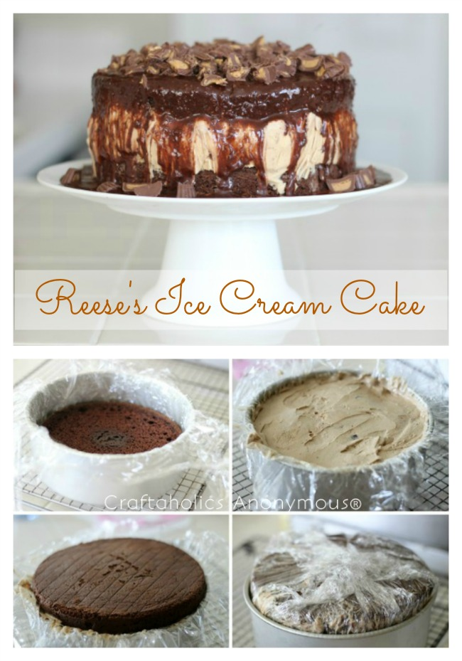 Delicious Reeses Peanut Butter Chocolate Ice Cream Cake. Delicious and easy to make!