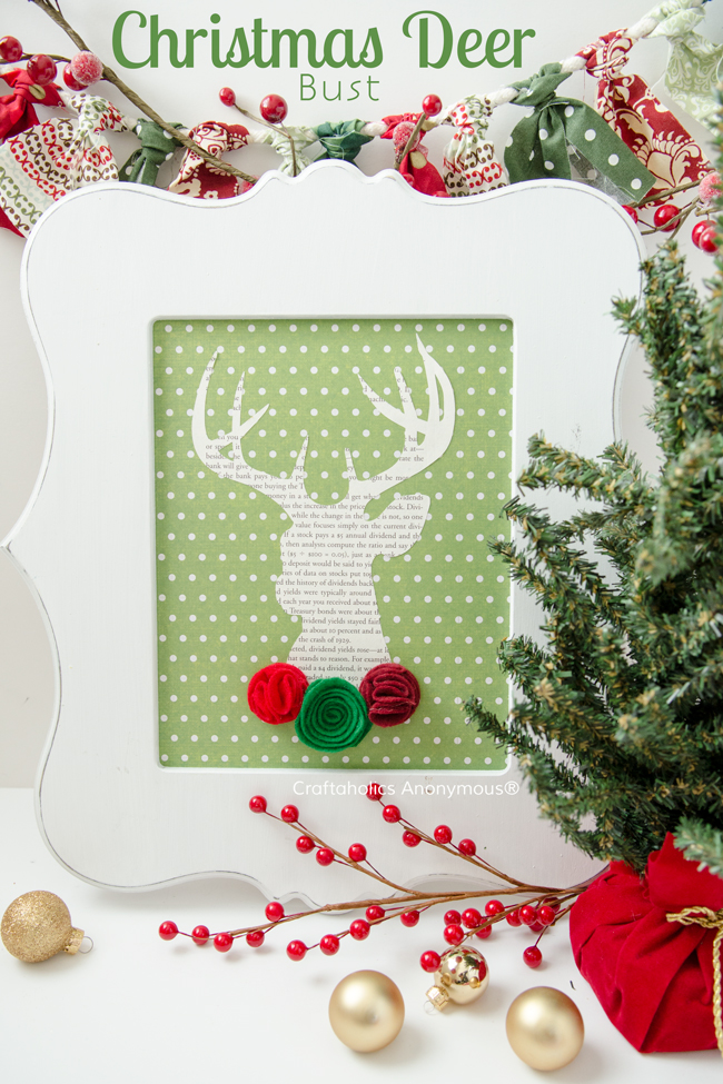 Christmas Deer Bust. Stunning deer sign that is the perfect addition to any holiday decor!