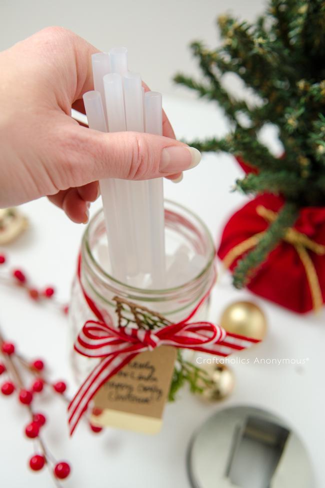 How to make mason jar glue stick dispenser