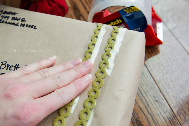 Add trim or lace on your tape before putting on packages for a festive touch.