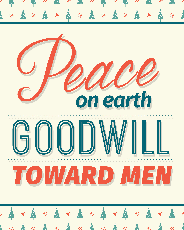 Free Peace on Earth Printable for Christmas