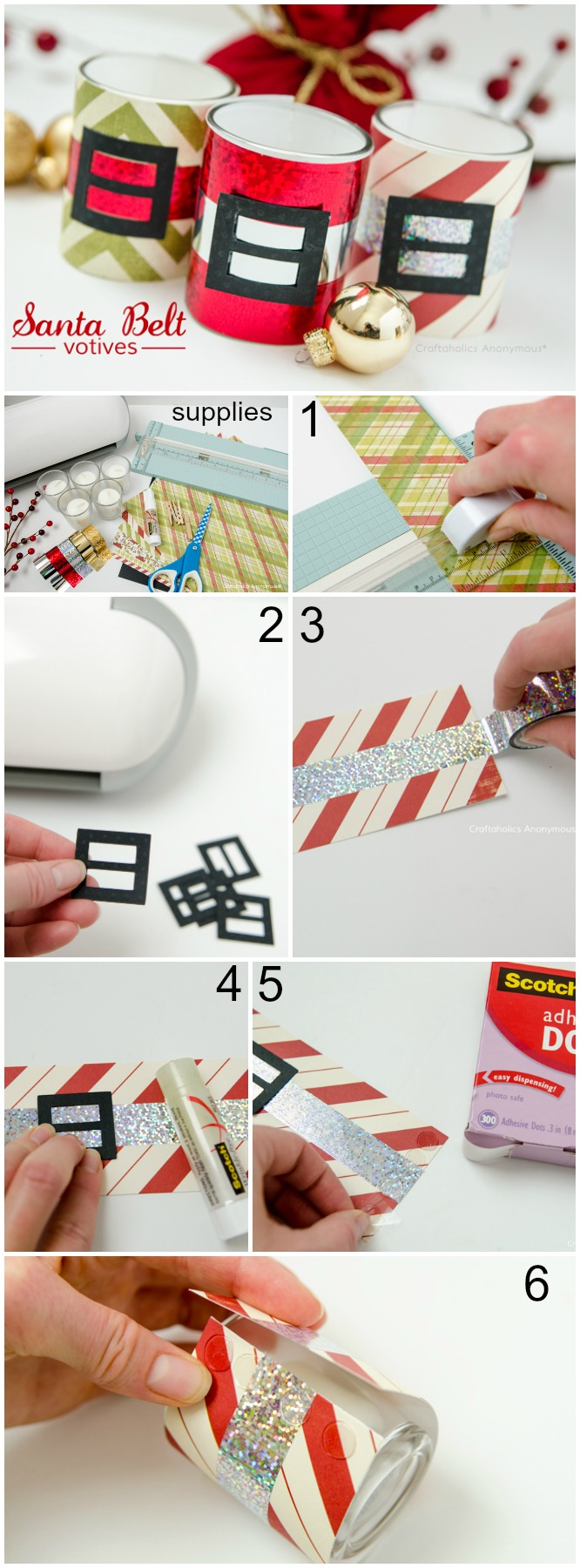 How to make santa belt votives candles. These would be awesome for Christmas party favors or small handmade gifts.