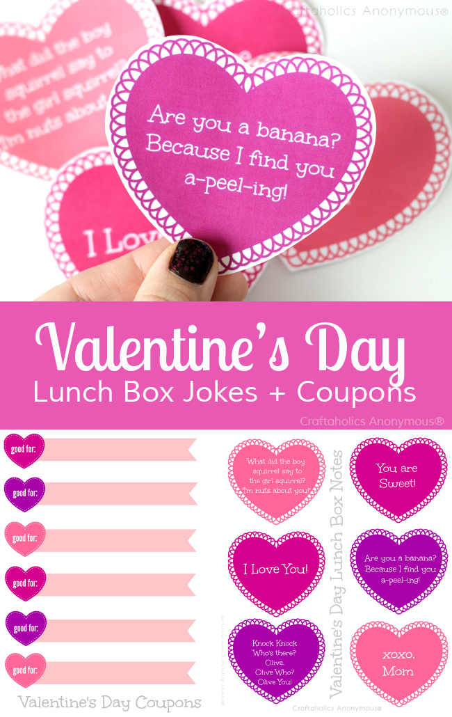 Free Printable Valentine's Day lunch box jokes + coupons || Great way to help kids feel loved at school!