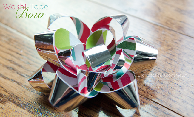 Washi tape bows. Great for gift giving any time of the year! No need to run to the store when you can make your own with paper and tape.
