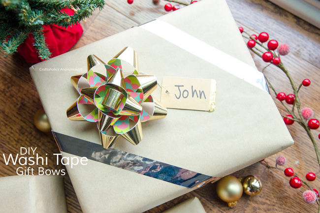 Handmade Christmas Bows using washi tape and scrapbook paper. Personalize the bows using paper they would like.