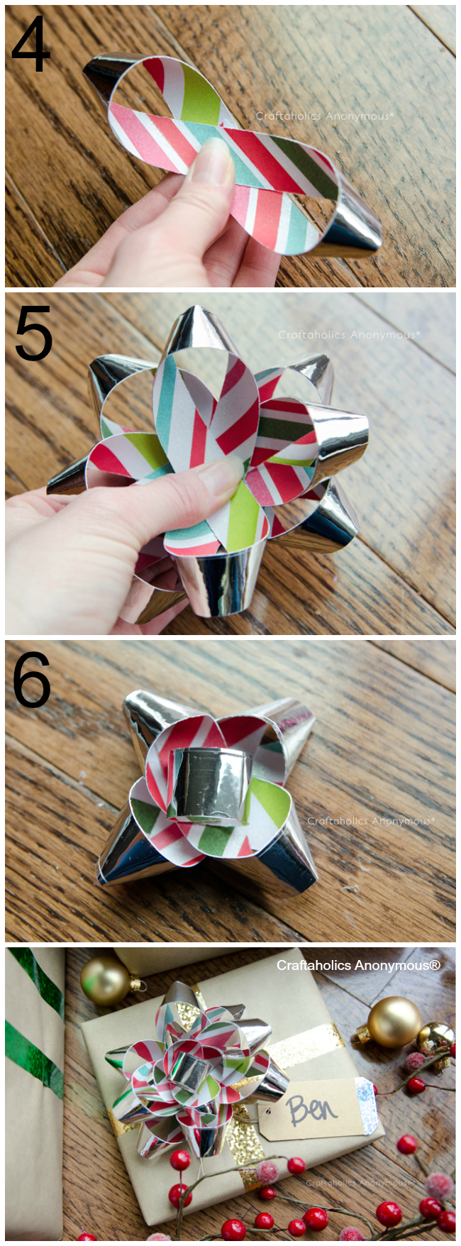 How to make Washi Tape Gift Bows. Easy to make + you can personalize the bow. Use sheet music for the music lover.