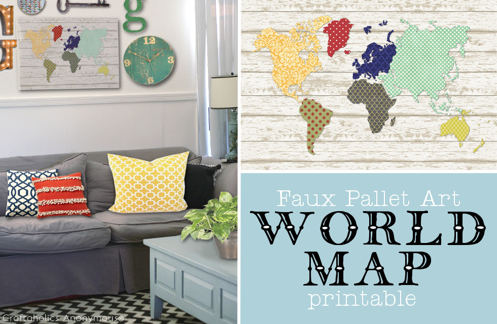 Wood Pallet World Map Printable || Super cute DIY decor done in minutes!