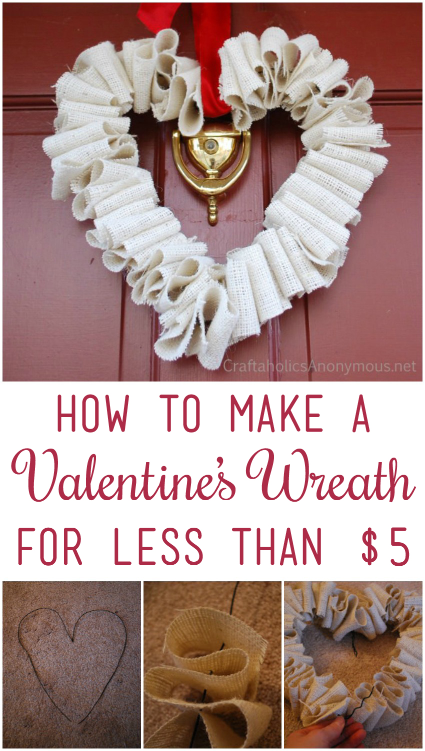 How to Make a Valentine's Wreath for Less than $5 | Craftaholics Anonymous®