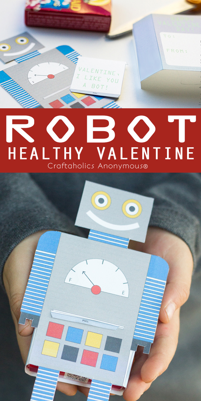 Free Printable Healthy Valentine || Adorable Robot Valentine printable that holds a box of Raisins