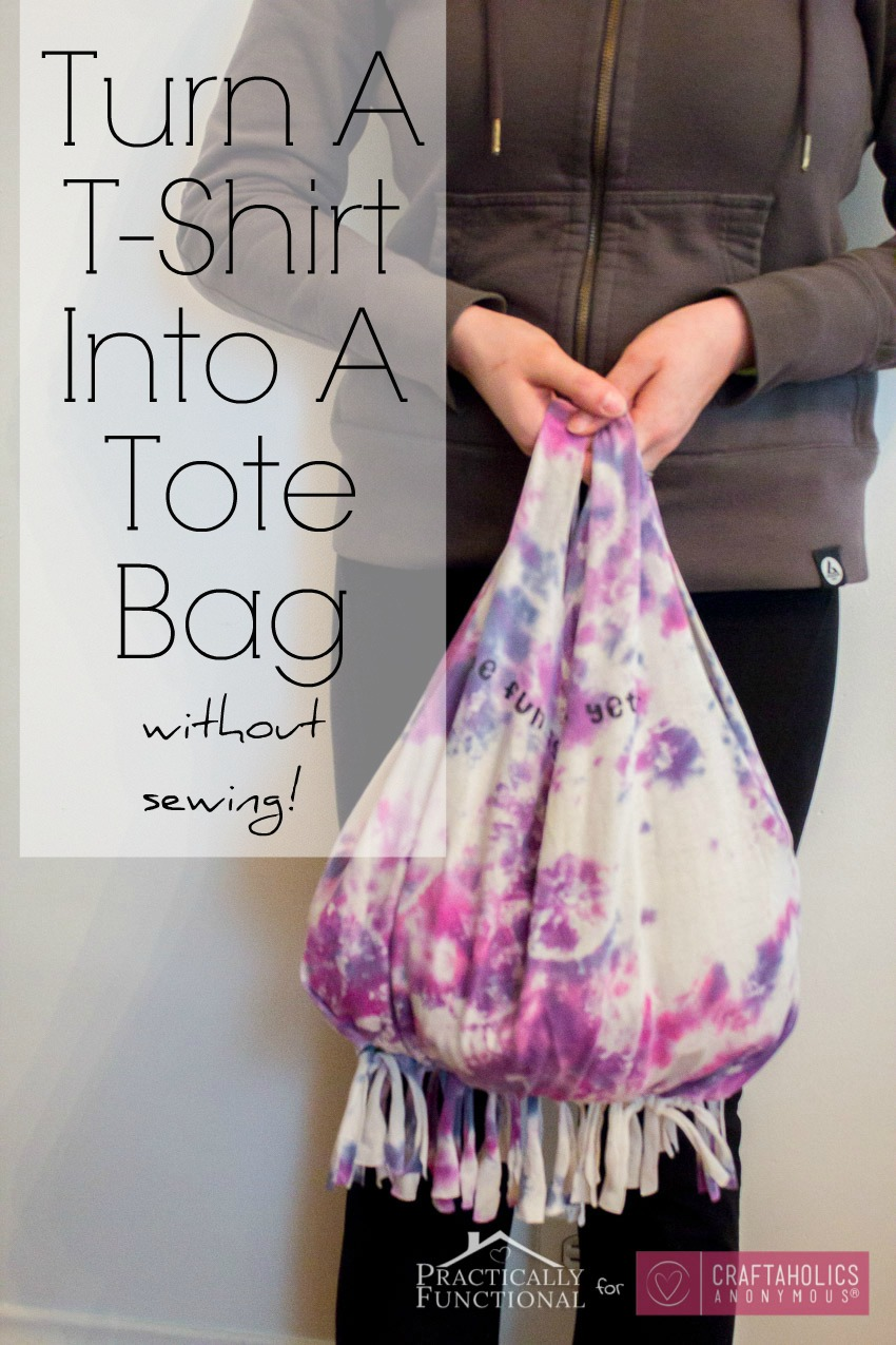 No-Sew T-shirt bag tutorial || Great way to reuse an old tee plus its a great kid or teen craft!