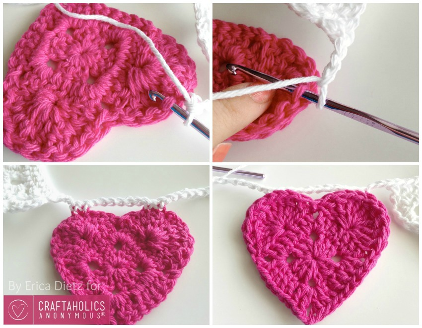 Free Crochet pattern for a Hearts and Doilies banner || this would be so pretty at a wedding