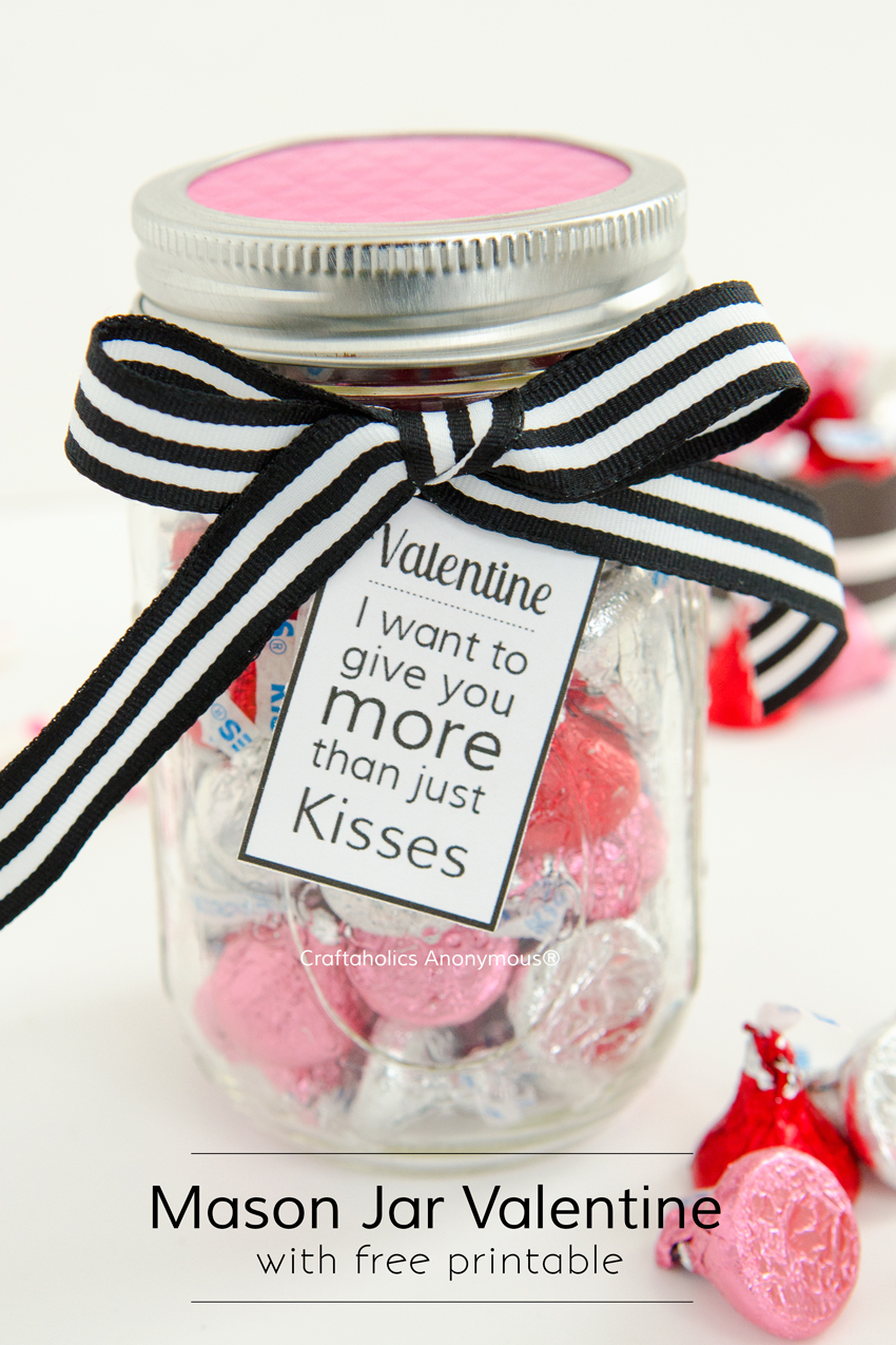 Valentine gift idea for Men || Sweetly romantic Mason Jar gift with free printable