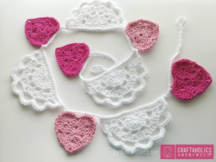 Crochet Valentine's Day Bunting with Hearts and Doilies