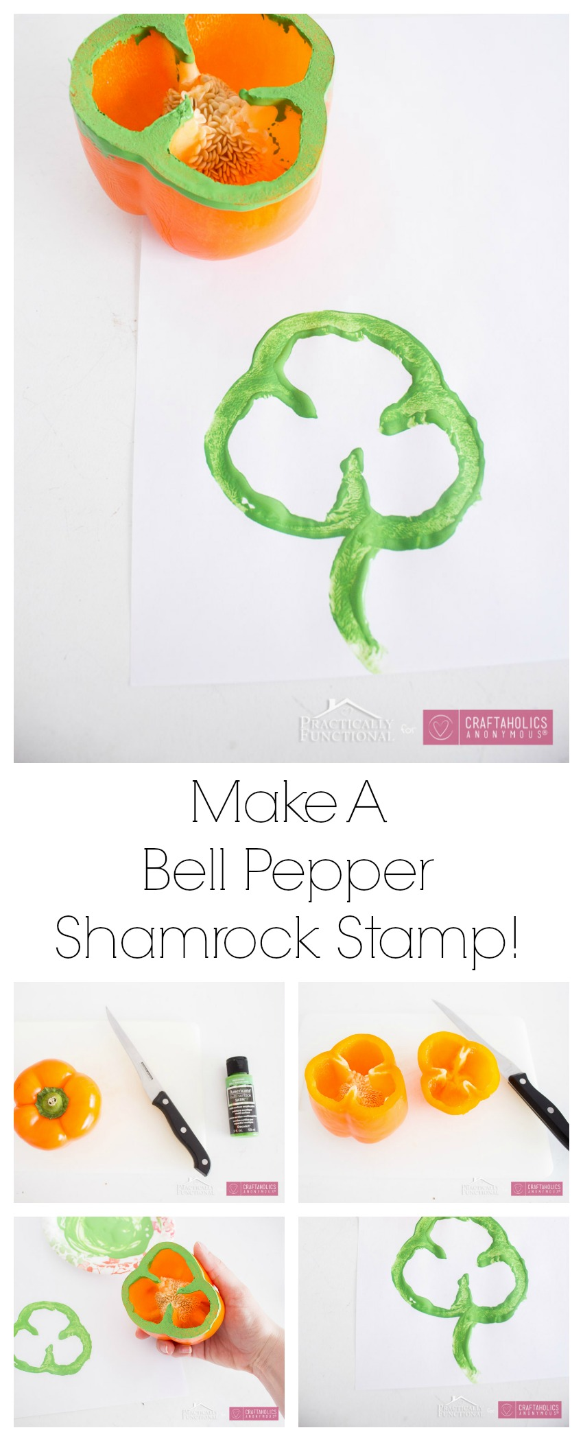 St. Patrick's Day kids craft || How to make bell pepper shamrock stamps