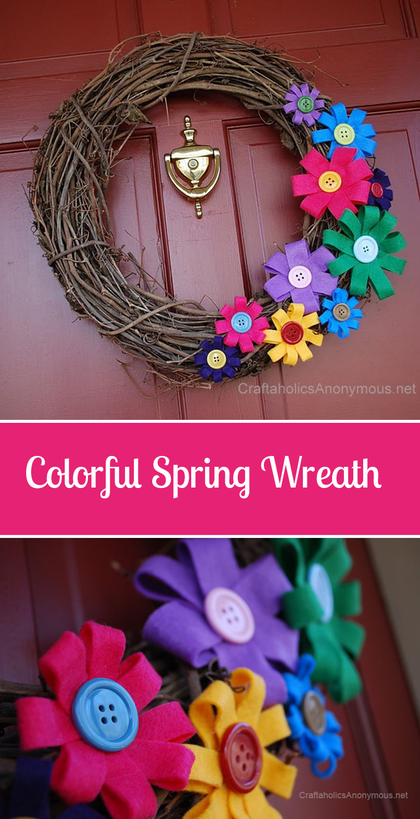 Love this happy, colorful DIY Spring Wreath!