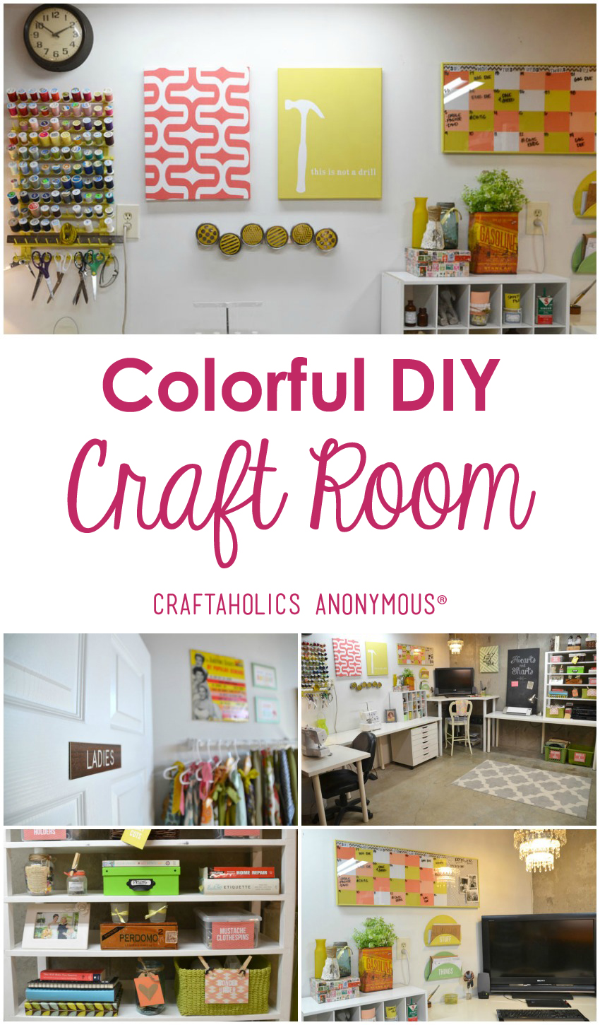 Craft Room Tour / Check out this colorful and fun craft room that Dena of Hearts and Sharts DIY'd completely from scratch!