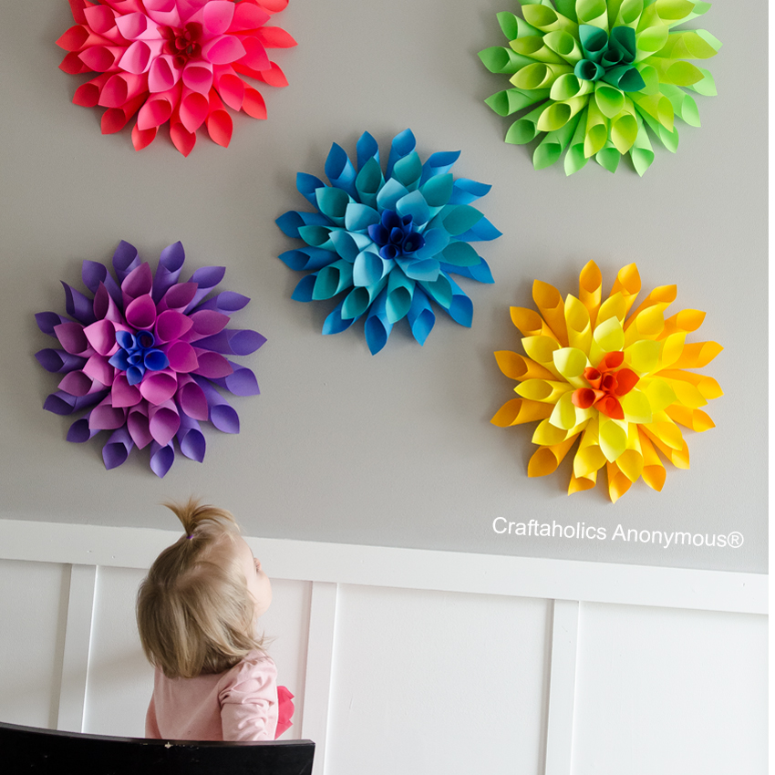 Craftaholics Anonymous Rainbow Paper Dahlia Flowers