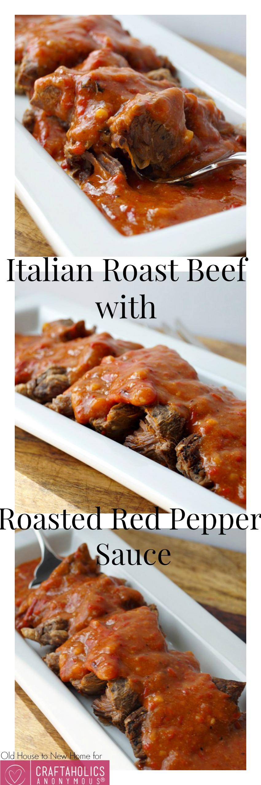 Italian Roast Beef with Roasted Red Pepper Sauce    BEST roast beef recipe ever!