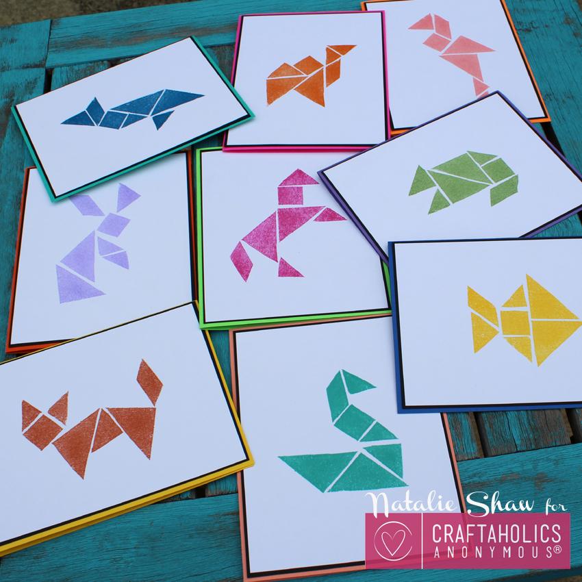 diy tangrams rubber stamps geometric cards (4)