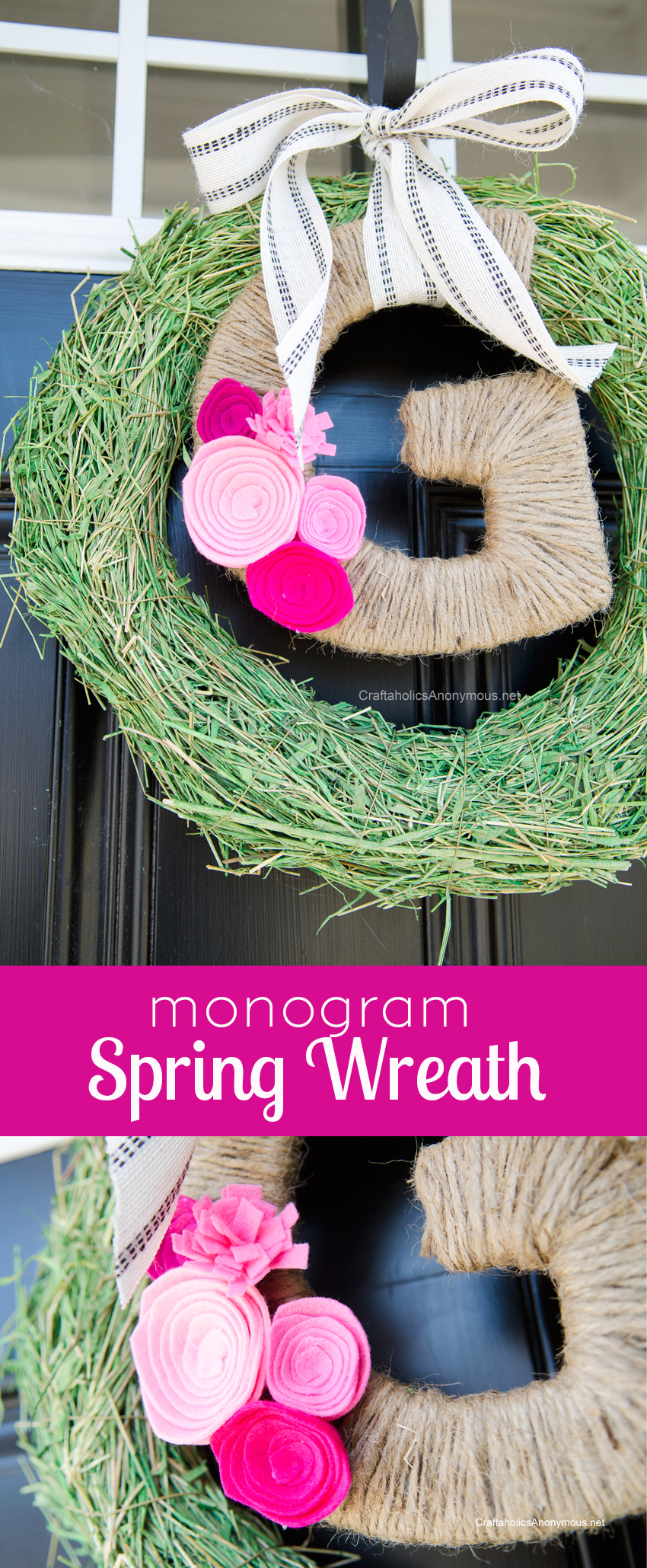 DIY  Monogram Spring Wreath + ideas for other spring wreaths that can be made in minutes!