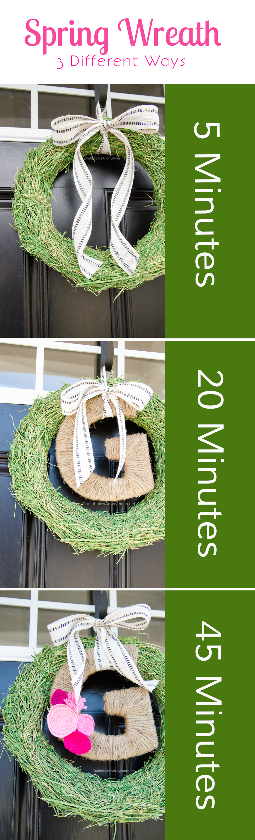 DIY Spring Wreaths that can be made in a matter of minutes || Love the monogram spring wreath!