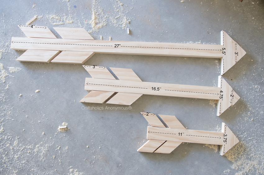 Wood Arrow measurements for 3 different size arrows
