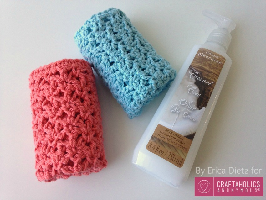 crochet washcloths and lotion